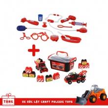 Combo Bộ xe tải và xe kéo Mammoet kèm bộ lắp ráp 10 chi tiết và Bộ bác sĩ Số 7 Palau Toys