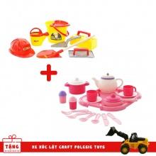 Combo Bộ nhà bếp Nasten'ka cho 4 người (29 chi tiết ) và Bộ dụng cụ xây dựng Số 7 Wader Quality Toys