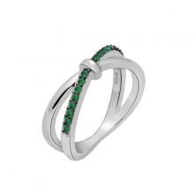 Nhẫn nữ Infinity một hàng đá J'admire bạc cao cấp mạ Platinum và Black Rhodium đính đá Swarovski Zirconia màu lục bảo