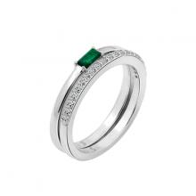 Nhẫn nữ bộ Minimalist J'admire bạc cao cấp mạ Platinum đính đá Cubic Zirconia trắng và màu lục bảo