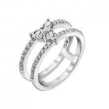 Nhẫn nữ vòng kép mặt hoa J'admire bạc cao cấp mạ Platinum đính đá Swarovski Zirconia trắng
