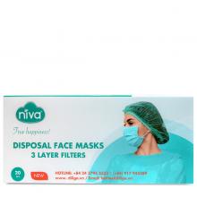 Hộp 20 chiếc khẩu trang Y tế Niva 3 lớp kháng khuẩn, chống bụi, bảo vệ sức khỏe