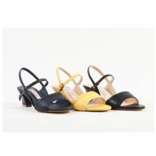 Giày sandal nữ gót bằng da thật cao gót 5cm Mẫu 2020 GS03
