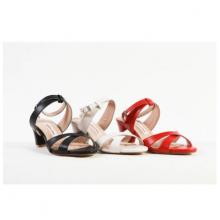 Giày sandal nữ mũi tròn da thật cao gót 5cm Mẫu 2020 GS04