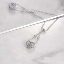 Vòng cổ Dangle Heart Jadmire bạc cao cấp mạ bạch kim đính đá Swarovski Zirconia trắng