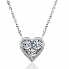 Vòng cổ Heart Shape Jadmire bạc cao cấp mạ bạch kim đính đá Swarovski Zirconia trắng