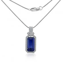 Vòng cổ Queen of Shapphire Jadmire bạc cao cấp mạ bạch kim đính đá Swarovski Zirconia trắng và đá sapphire nhân tạo cao cấp