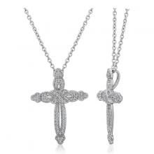 Vòng cổ Cross Jadmire bạc cao cấp mạ bạch kim đính đá Swarovski Zirconia trắng