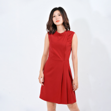 Váy đầm công sở nữ thời trang Eden cổ tròn nhúng bèo xếp li eo - D411