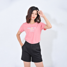 Áo thun nữ thời trang Eden tay ngắn in chữ bambiho - AT085