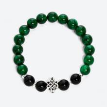 Vòng cẩm thạch sơn thủy phối đá obsidian đen và charm kết đồng tâm bạc - Ngọc Quý Gemstones