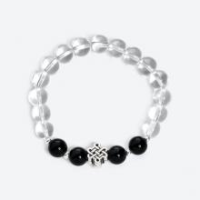Vòng tay đá thạch anh trắng phối đá obsidian đen và charm kết đồng tâm bạc - Ngọc Quý Gemstones
