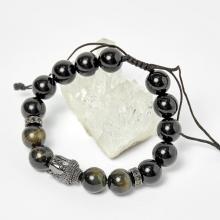 Vòng đá obsidian phối đá thiên nhiên và charm phật 10mm - Ngọc Quý Gemstones