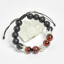 Vòng đá obsidian nhám phối thạch anh mắt hổ nâu đỏ và charm vương miệng bạc 10mm - Ngọc Quý Gemstones