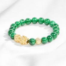 Vòng đá thiên nhiên phối tỳ hưu bạc mạ vàng - Ngọc Quý Gemstones