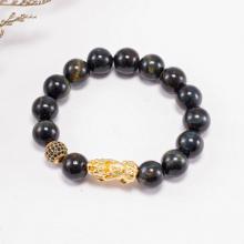 Vòng tay nam đá thiên nhiên phối tỳ hưu bạc mạ vàng - Ngọc Quý Gemstones