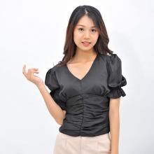 Áo kiểu thời trang Eden dáng ngắn cổ tim tay phồng - ASM088
