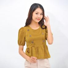 Áo kiểu nữ công sở thời trang Eden dáng ngắn tay phồng phối nút- ASM097