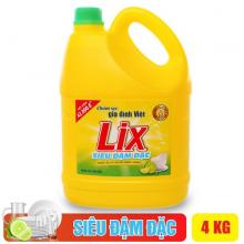 Nước rửa chén Lix siêu đậm đặc hương chanh 4Kg - Sạch bóng vết dầu mỡ - N0004
