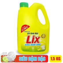 Nước rửa chén Lix siêu đậm đặc hương chanh 1.5Kg - Sạch bóng vết dầu mỡ - NC15