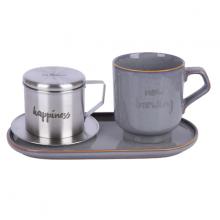 Bộ pha café Happiness-Vintage 3 món (phin cafe, cốc và đĩa sứ 24cm) Sa Maison