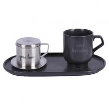 Bộ pha café Good Luck-Modern 3 món (phin cafe, cốc và đĩa sứ 24cm) Sa Maison