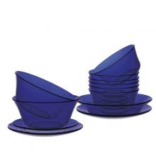 Bộ bàn ăn 12 món thủy tinh cường lực Pháp Duralex Lys Xanh Saphir
