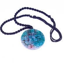 Mặt dây chuyền phật bà quan âm cưỡi rồng đá chalcedony 1 - Ngọc Quý Gemstones