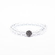 Vòng tay cho bé đá thạch anh trắng charm bạc - Ngọc Quý Gemstones