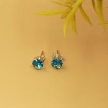 Hoa tai nụ đá xanh biển Opal - E3