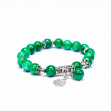 Vòng tay đá cẩm thạch sơn thủy charm bạc cung Kim Ngưu - Ngọc Quý Gemstones