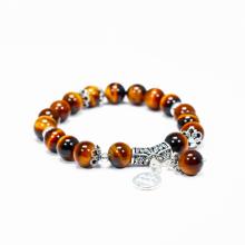 Vòng tay đá mắt hổ vàng nâu charm bạc cung Bảo Bình - Ngọc Quý Gemstones