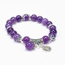 Vòng tay đá thạch anh tím charm bạc cung Bạch Dương - Ngọc Quý Gemstones