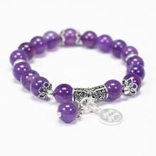 Vòng tay đá thạch anh tím charm bạc cung bảo bình - Ngọc Quý Gemstones