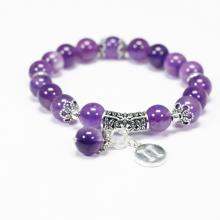 Vòng tay đá thạch anh tím charm bạc cung song tử - Ngọc Quý Gemstones