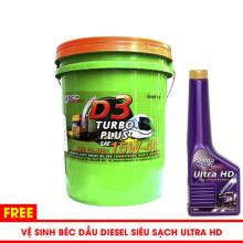 Nhớt động cơ dầu diesel BCP Thái Lan - D3 Turbo Diesel CI4-SL 15W40 - 18l tặng súc béc dầu BCP Ultra HD 200ml
