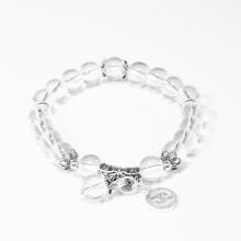 Vòng tay đá thạch anh trắng charm bạc cung Cự Giải - Ngọc Quý Gemstones