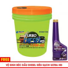 Nhớt động cơ diesel BCP Thái Lan - Turbo Diesel CF4-SJ 15W40 - 18l tặng súc béc dầu BCP ULTRA HD 200ml