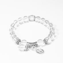 Vòng tay đá thạch anh trắng charm bạc cung kim ngưu - Ngọc Quý Gemstones