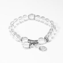 Vòng tay đá thạch anh trắng charm bạc cung Ma Kết - Ngọc Quý Gemstones