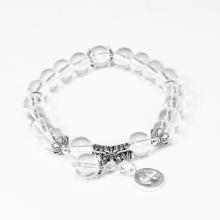Vòng tay đá thạch anh trắng charm bạc cung nhân mã - Ngọc Quý Gemstones