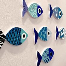 Bộ cá blue fish - 6 bé ca không cần khoan tường