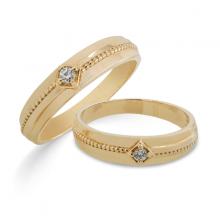 Cặp nhẫn cưới vàng DOJI cao cấp 14K đính đá Swarovski 1712