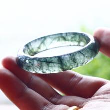 Vòng tay đá thạch anh tóc xanh liền khối ni53 - Ngọc Quý Gemstones