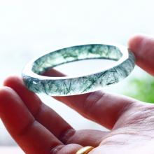 Vòng tay đá thạch anh tóc xanh liền khối ni55 - Ngọc Quý Gemstones