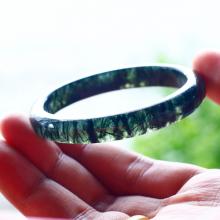 Vòng tay đá thạch anh tóc xanh liền khối ni58 - Ngọc Quý Gemstones