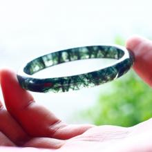 Vòng tay đá thạch anh tóc xanh liền khối ni60 - Ngọc Quý Gemstones