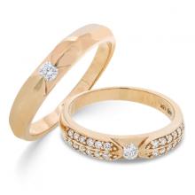 Cặp nhẫn đôi, nhẫn cưới vàng trắng DOJI cao cấp 18K đính đá Swarovski 1522