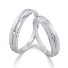 Cặp nhẫn đôi, nhẫn cưới vàng trắng DOJI cao cấp 14K đính đá Swarovski 0724