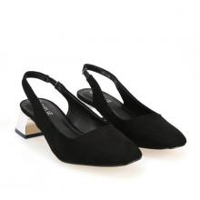 Giày sandals cao gót đế vuông Girlie S33024 màu đen